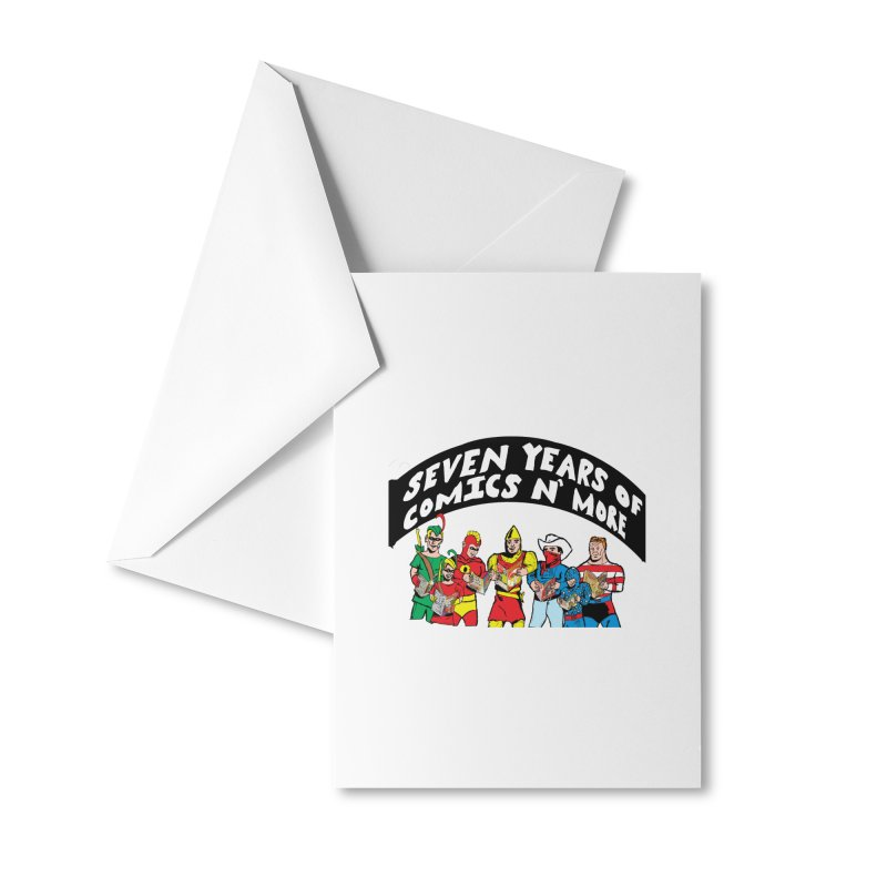 Seven Years Of Comics N More Black Banner Accessories Greeting Card by Comixmonger's Closet
