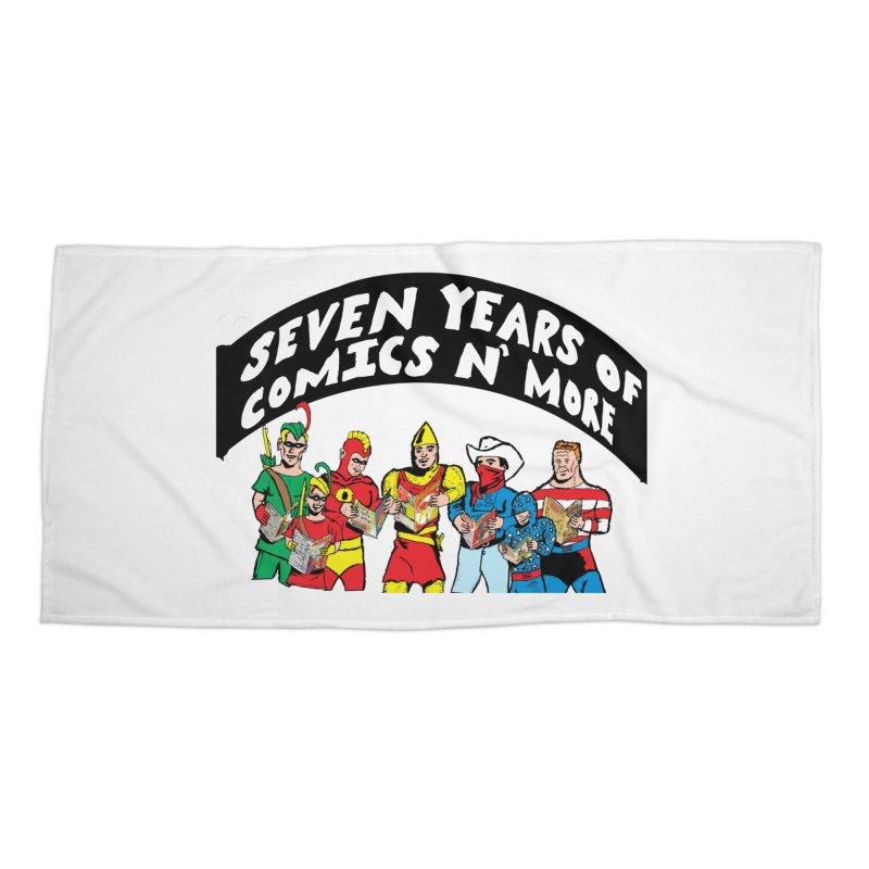 Seven Years Of Comics N More Black Banner Accessories Beach Towel by Comixmonger's Closet