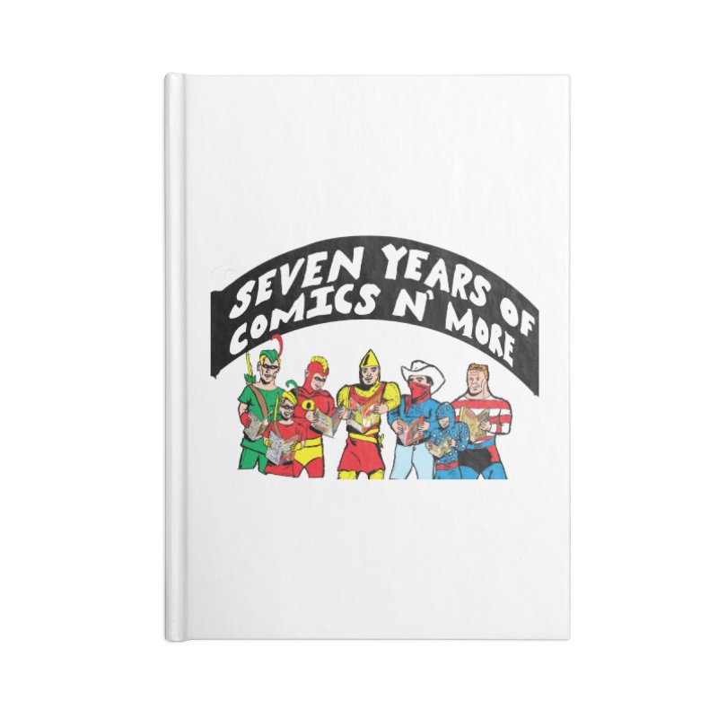Seven Years Of Comics N More Black Banner Accessories Notebook by Comixmonger's Closet