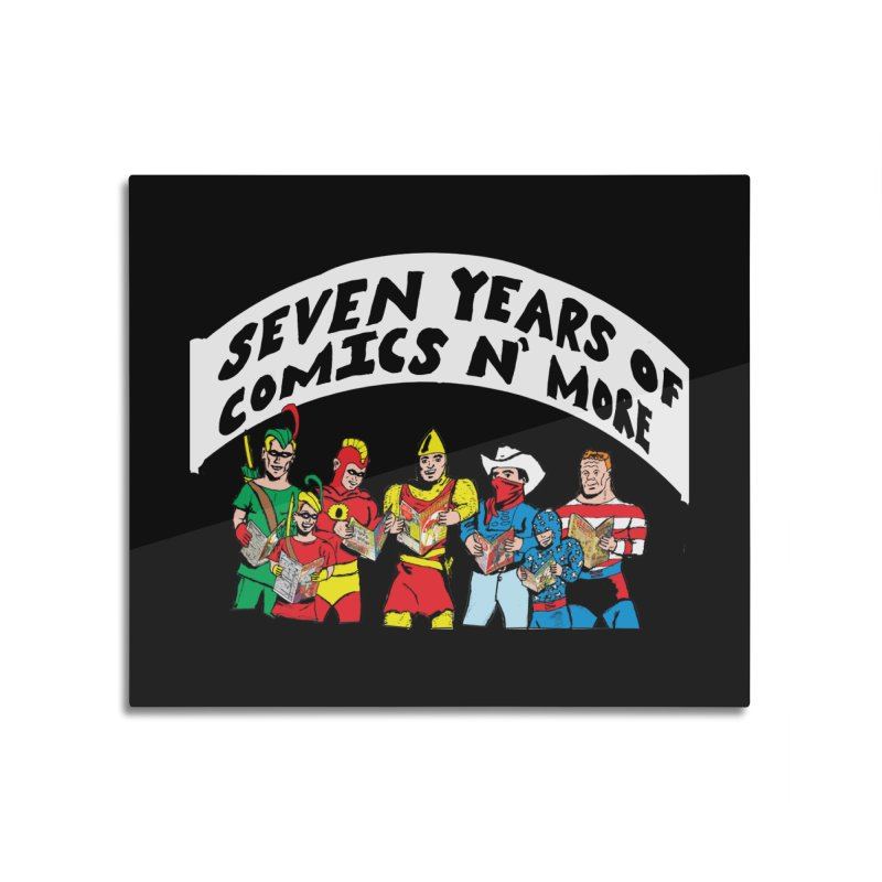 Seven Years Of Comics N More White Banner Home Mounted Acrylic Print by Comixmonger's Closet