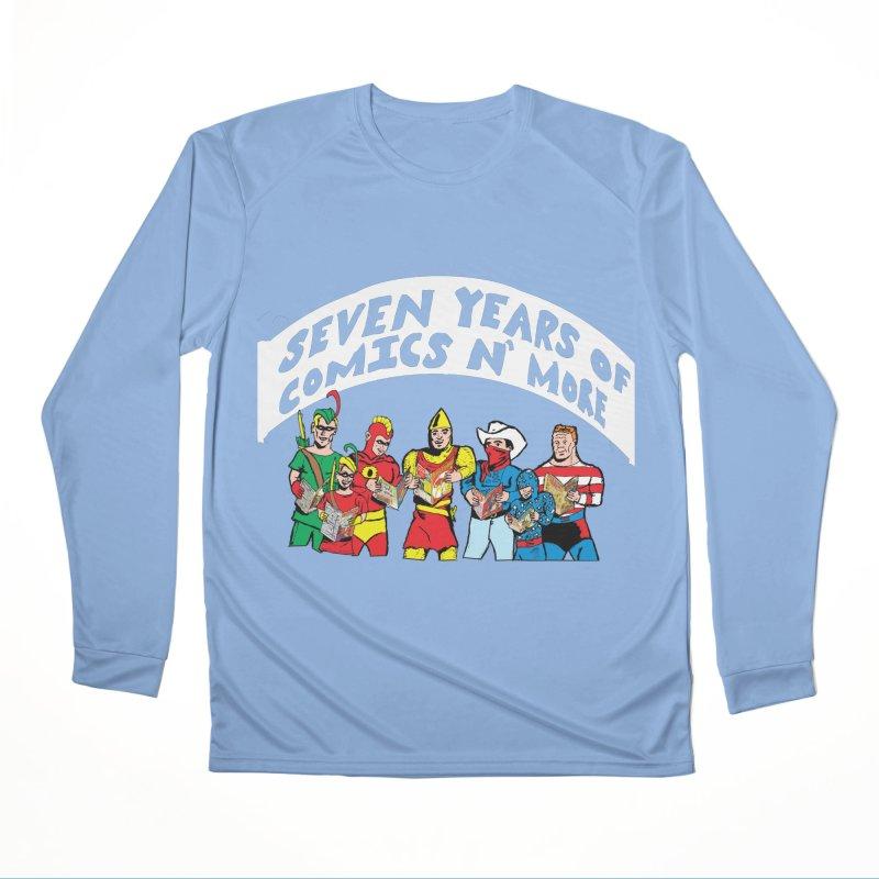 Seven Years Of Comics N More White Banner Women's Longsleeve T-Shirt by Comixmonger's Closet