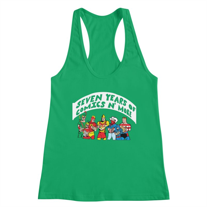 Seven Years Of Comics N More White Banner Women's Tank by Comixmonger's Closet
