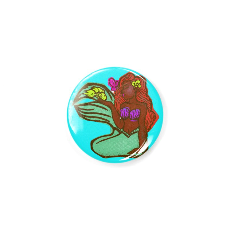 The Black Little Mermaid and Fish Accessories Button by CosmicMedium's Artist Shop