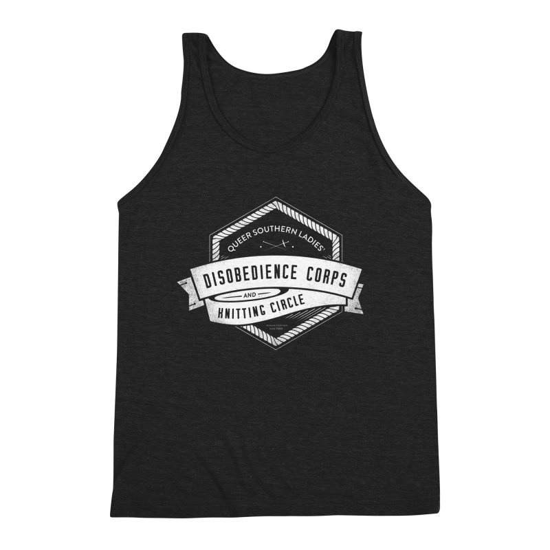 Disobedience and Knitting Men's Triblend Tank by Crowglass Design