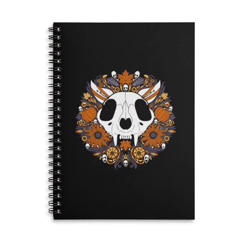 Halloween Cat Accessories Lined Spiral Notebook by Crowglass Design