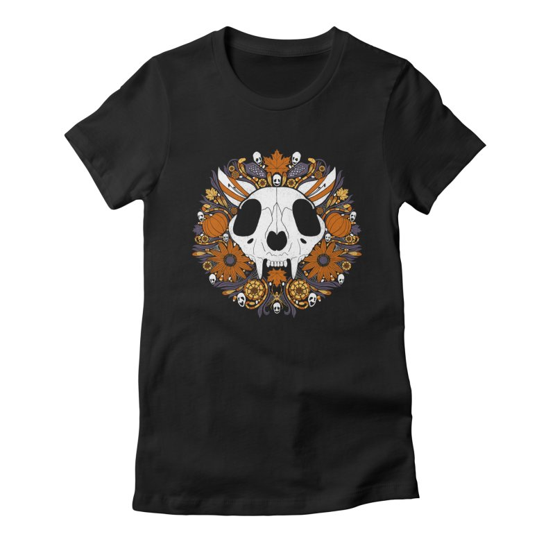 Halloween Cat Women's Fitted T-Shirt by Crowglass Design