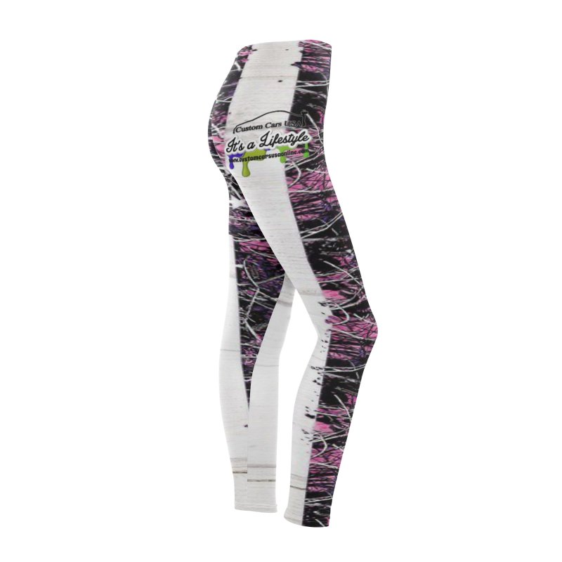 Leggings Pink American Flag Camo Women's Bottoms by Custom Cars USA Clothing
