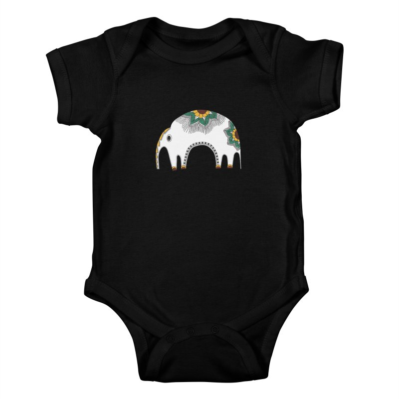 Stylish Elephant Kids Baby Bodysuit by Cutedesigning's Artist Shop