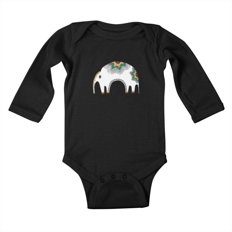 Stylish Elephant Kids Baby Longsleeve Bodysuit by Cutedesigning's Artist Shop