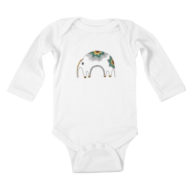 Stylish Elephant Kids Baby Longsleeve Bodysuit by Cutedesigning's Artist Shop