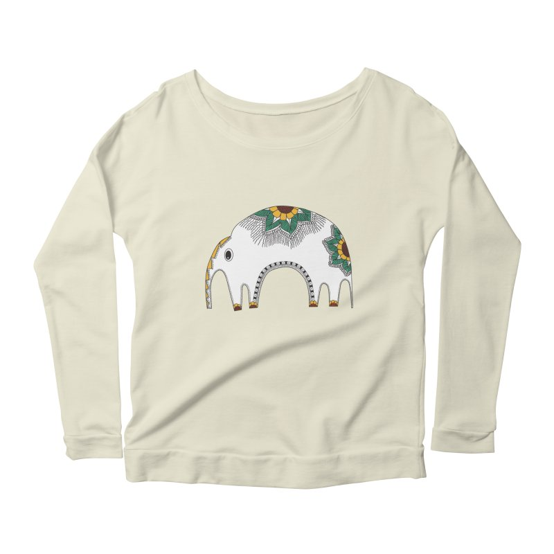 Stylish Elephant Women's Longsleeve Scoopneck  by Cutedesigning's Artist Shop