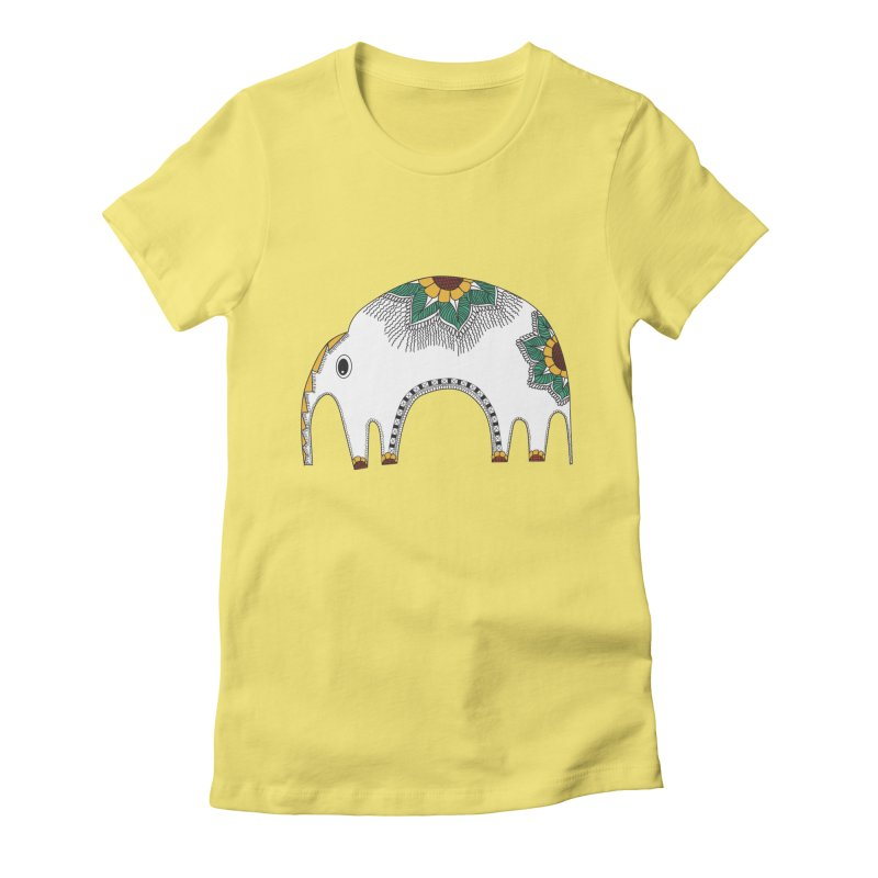 Stylish Elephant Women's Fitted T-Shirt by Cutedesigning's Artist Shop