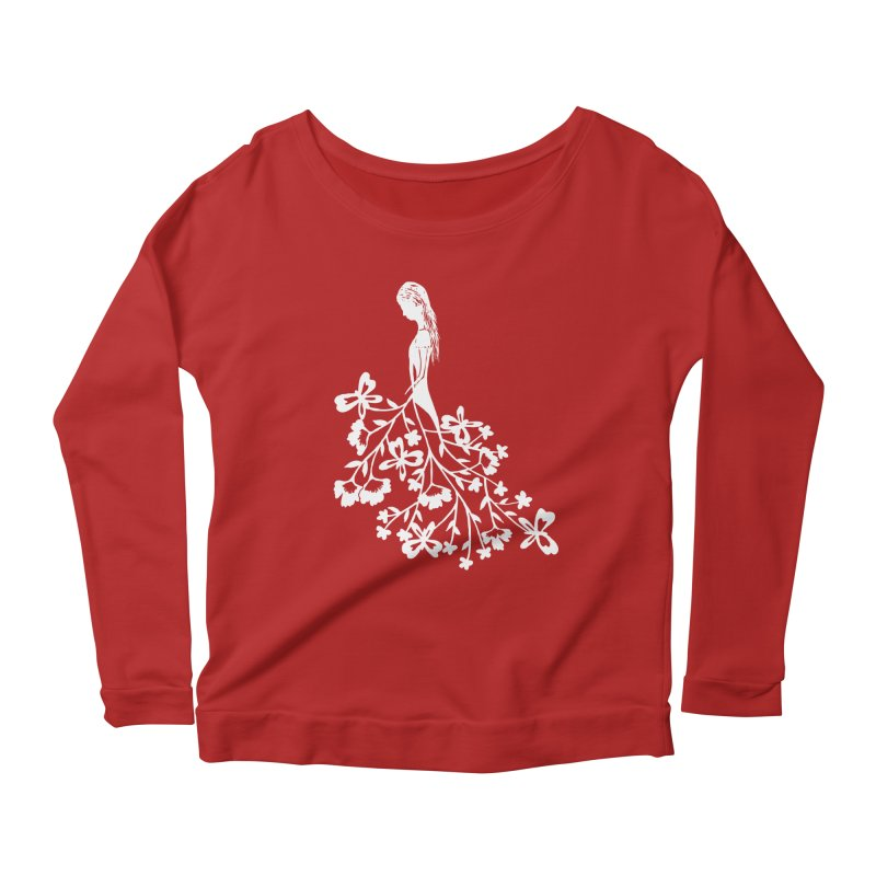 Flower Angel Women's Longsleeve Scoopneck  by Cutedesigning's Artist Shop