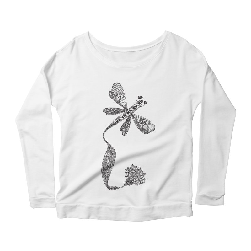 Stylish Dragonfly Women's Longsleeve Scoopneck  by Cutedesigning's Artist Shop