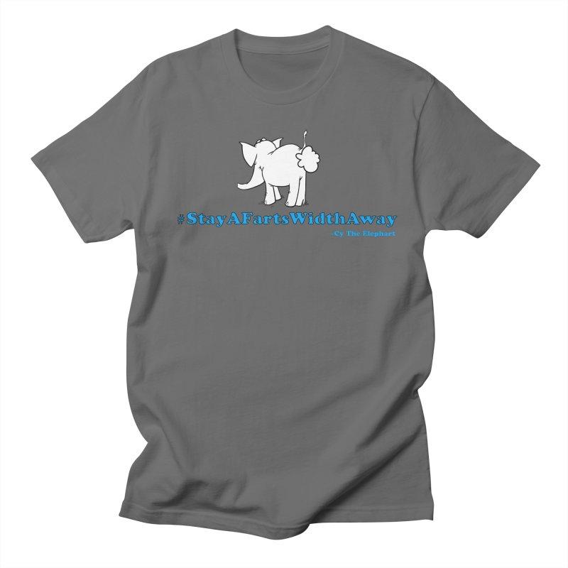 #StayAFartsWidthAway Back View Men's T-Shirt by Cy The Elephart's phArtist Shop