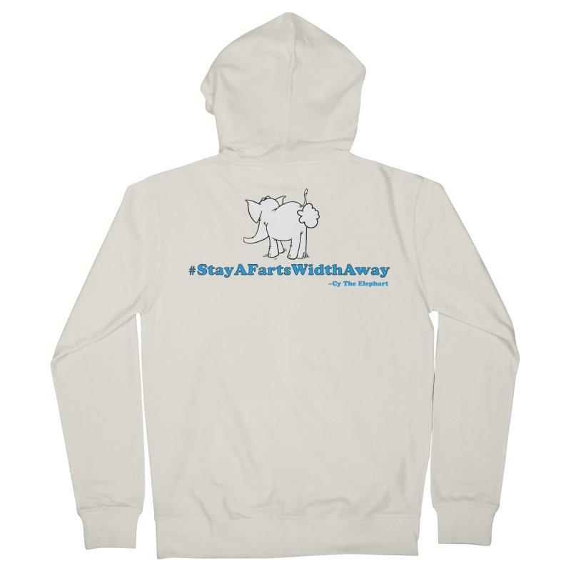 #StayAFartsWidthAway Back View Women's Zip-Up Hoody by Cy The Elephart's phArtist Shop
