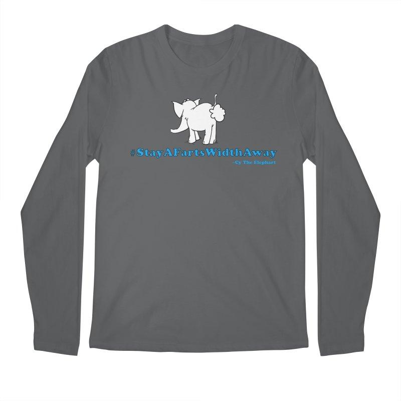 #StayAFartsWidthAway Back View Men's Longsleeve T-Shirt by Cy The Elephart's phArtist Shop