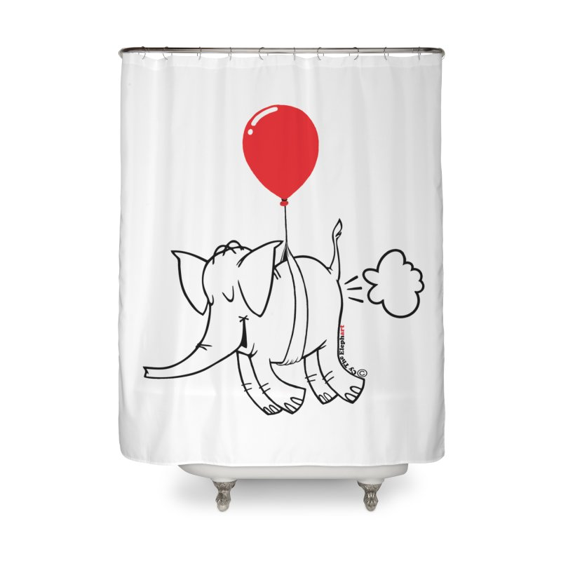 Cy & The Red Balloon Home Shower Curtain by Cy The Elephart's phArtist Shop