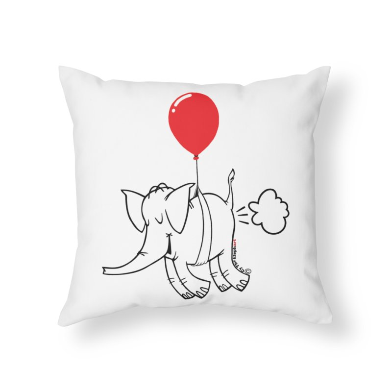 Cy & The Red Balloon Home Throw Pillow by Cy The Elephart's phArtist Shop