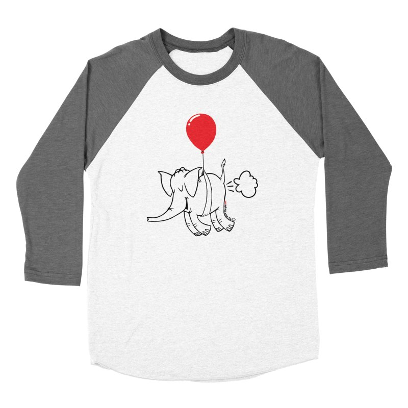 Cy & The Red Balloon in Men's Baseball Triblend Longsleeve T-Shirt Tri-Grey Sleeves by Cy The Elephart's phArtist Shop