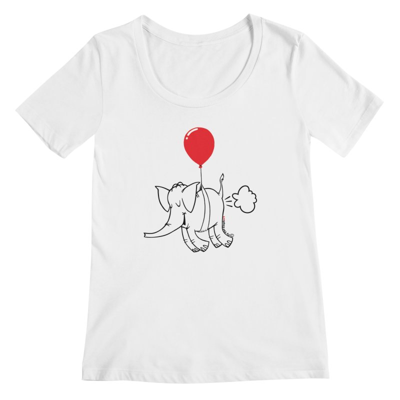 Cy & The Red Balloon Women's Regular Scoop Neck by Cy The Elephart's phArtist Shop