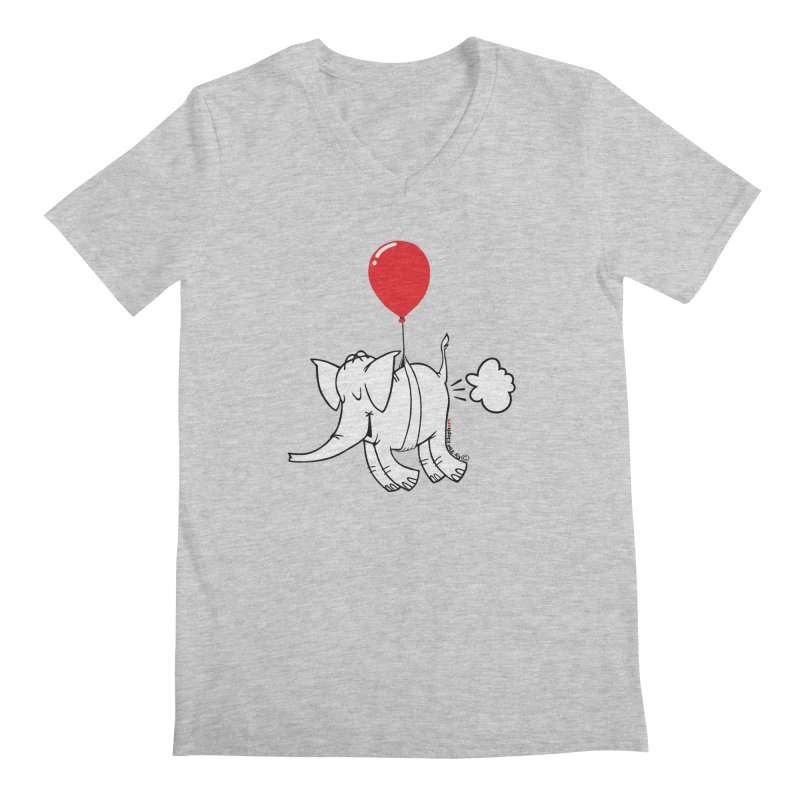 Cy & The Red Balloon Men's Regular V-Neck by Cy The Elephart's phArtist Shop