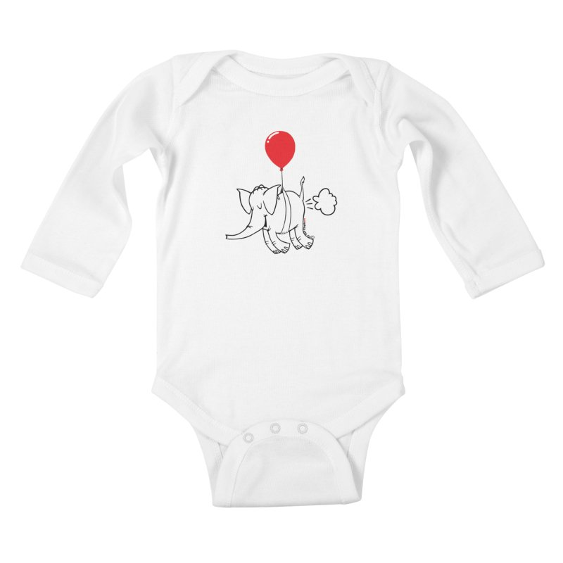 Cy & The Red Balloon Kids Baby Longsleeve Bodysuit by Cy The Elephart's phArtist Shop
