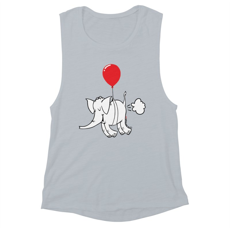 Cy & The Red Balloon Women's Muscle Tank by Cy The Elephart's phArtist Shop