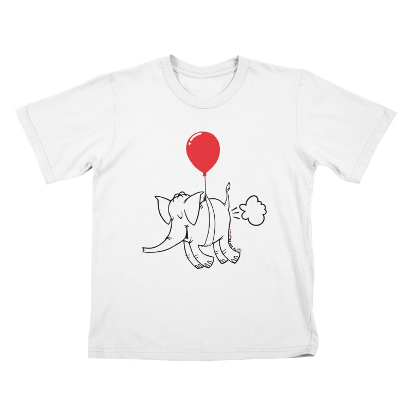 Cy & The Red Balloon in Kids T-Shirt White by Cy The Elephart's phArtist Shop
