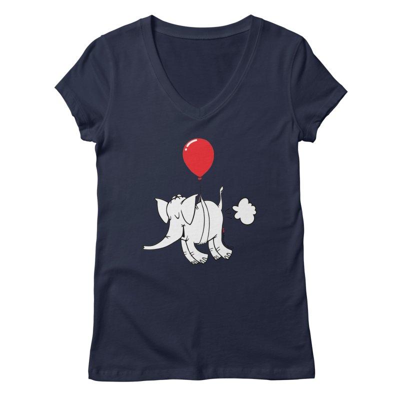Cy & The Red Balloon Women's Regular V-Neck by Cy The Elephart's phArtist Shop