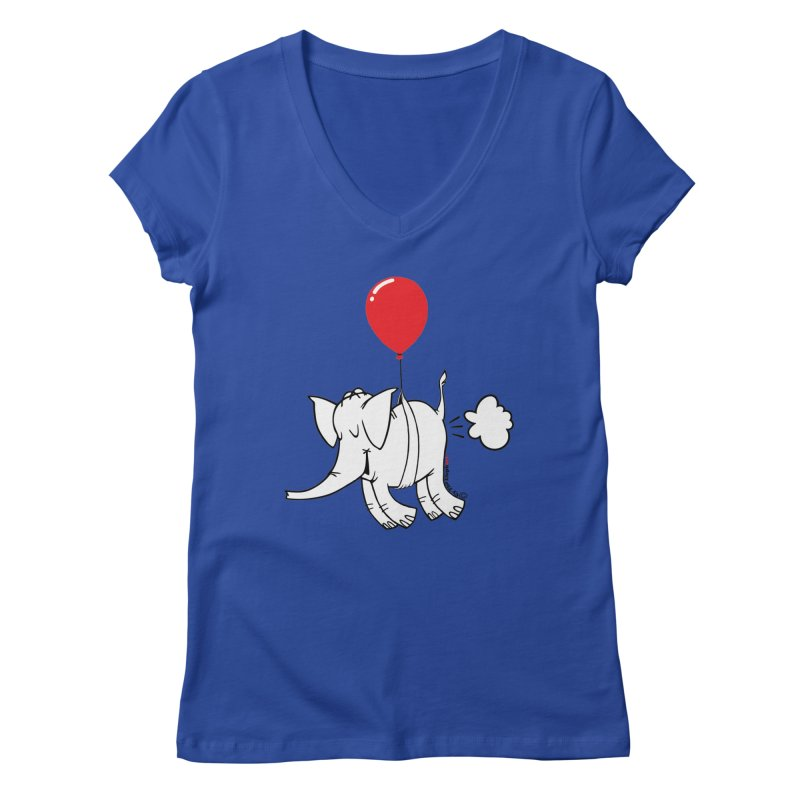 Cy & The Red Balloon Women's Regular V-Neck by Cy The Elephart's phArtist Shop