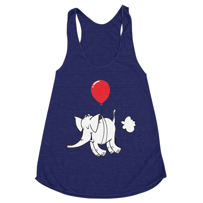 Cy & The Red Balloon Women's Racerback Triblend Tank by Cy The Elephart's phArtist Shop