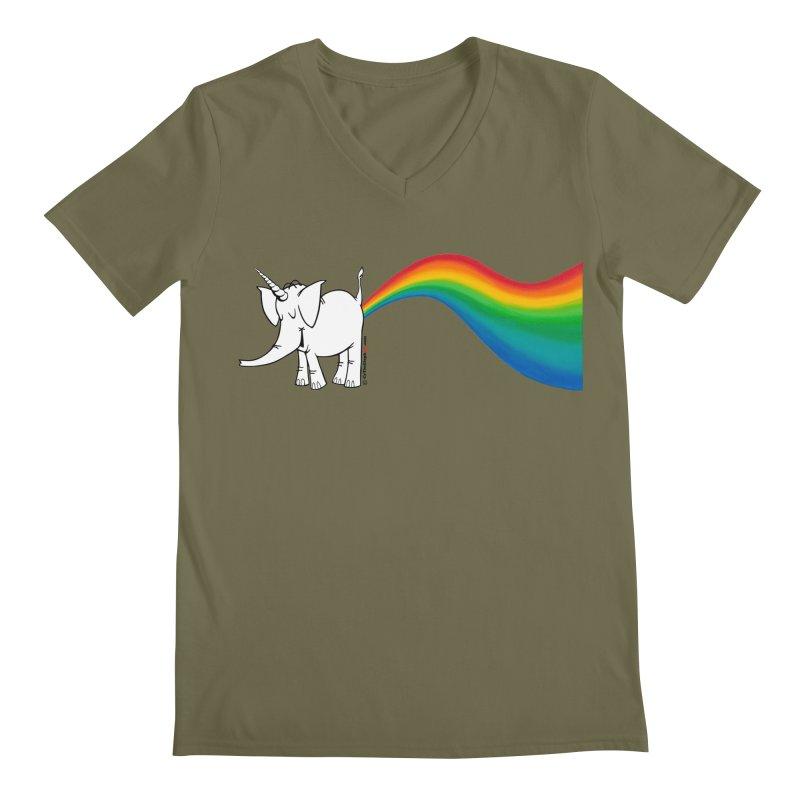 Unicorn Rainbow Lovin' Cy Men's Regular V-Neck by Cy The Elephart's phArtist Shop
