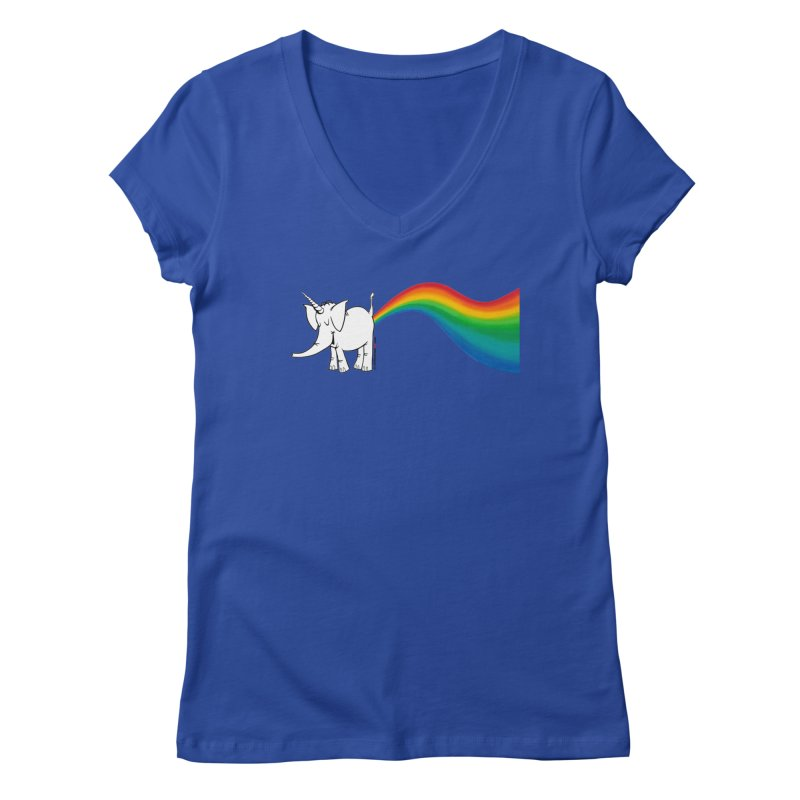 Unicorn Rainbow Lovin' Cy Women's Regular V-Neck by Cy The Elephart's phArtist Shop