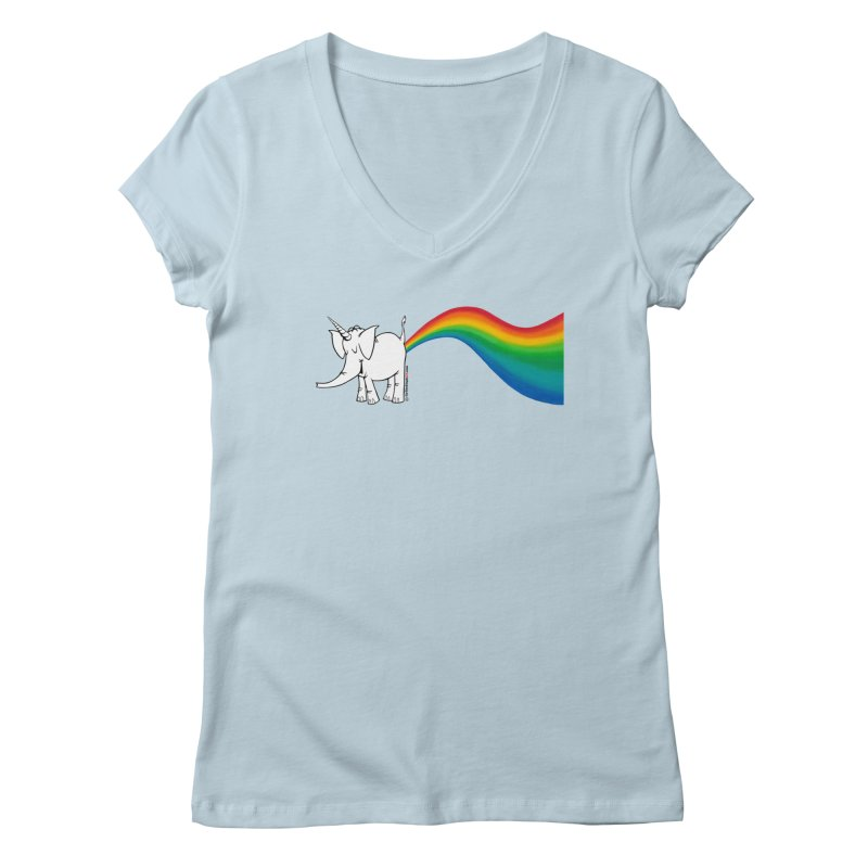 Unicorn Rainbow Lovin' Cy Women's Regular V-Neck by Cy The Elephart's phArtist Shop