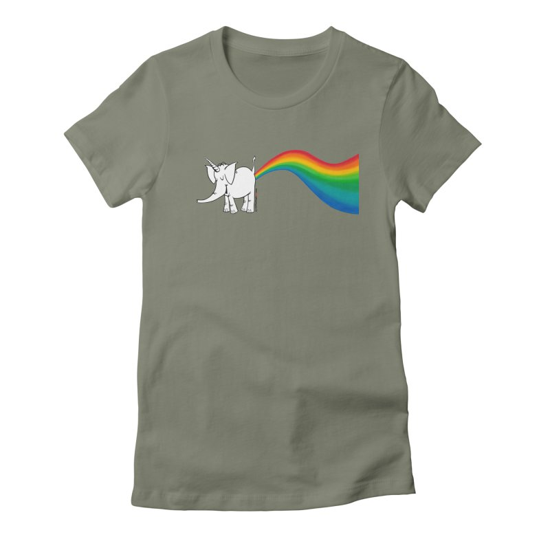 Unicorn Rainbow Lovin' Cy Women's Fitted T-Shirt by Cy The Elephart's phArtist Shop
