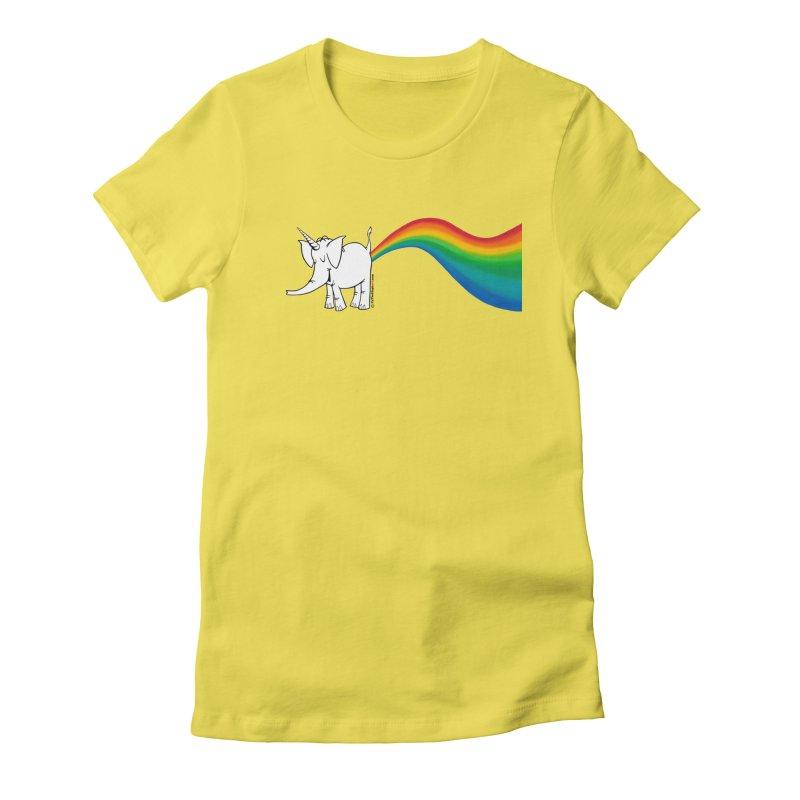 Unicorn Rainbow Lovin' Cy Women's Fitted T-Shirt by Cy The Elephart's phArtist Shop