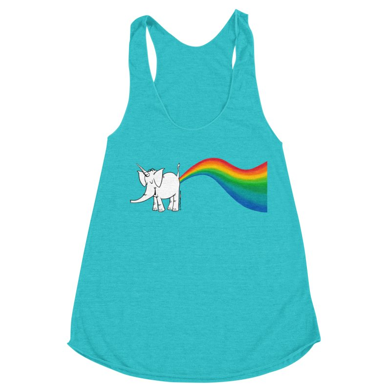 Unicorn Rainbow Lovin' Cy Women's Racerback Triblend Tank by Cy The Elephart's phArtist Shop