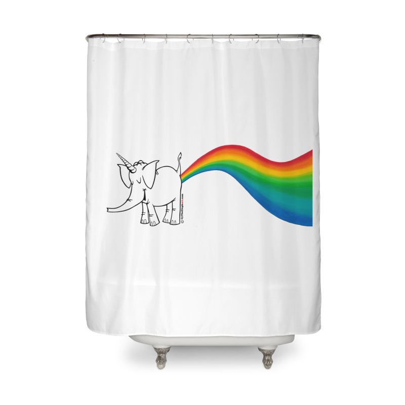 Unicorn Rainbow Lovin' Cy Home Shower Curtain by Cy The Elephart's phArtist Shop