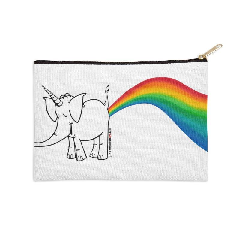 Unicorn Rainbow Lovin' Cy Accessories Zip Pouch by Cy The Elephart's phArtist Shop