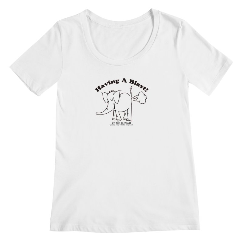 Having A Blast with Cy The Elephart Women's Regular Scoop Neck by Cy The Elephart's phArtist Shop