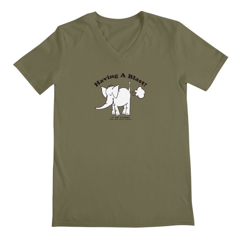 Having A Blast with Cy The Elephart Men's Regular V-Neck by Cy The Elephart's phArtist Shop