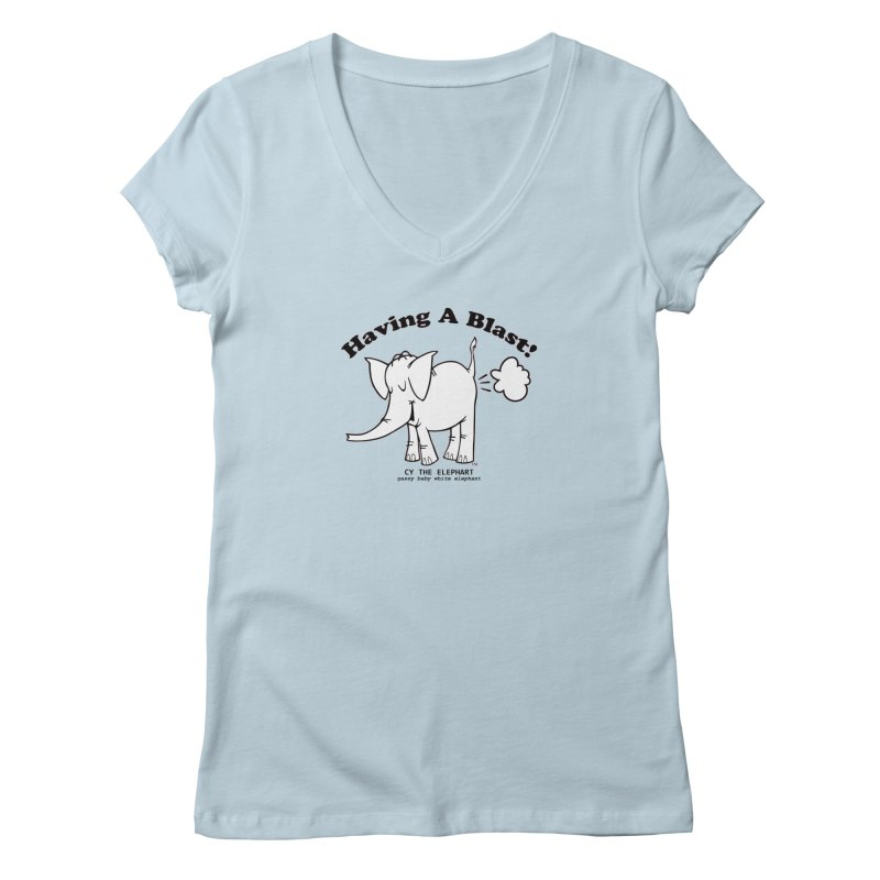 Having A Blast with Cy The Elephart Women's Regular V-Neck by Cy The Elephart's phArtist Shop