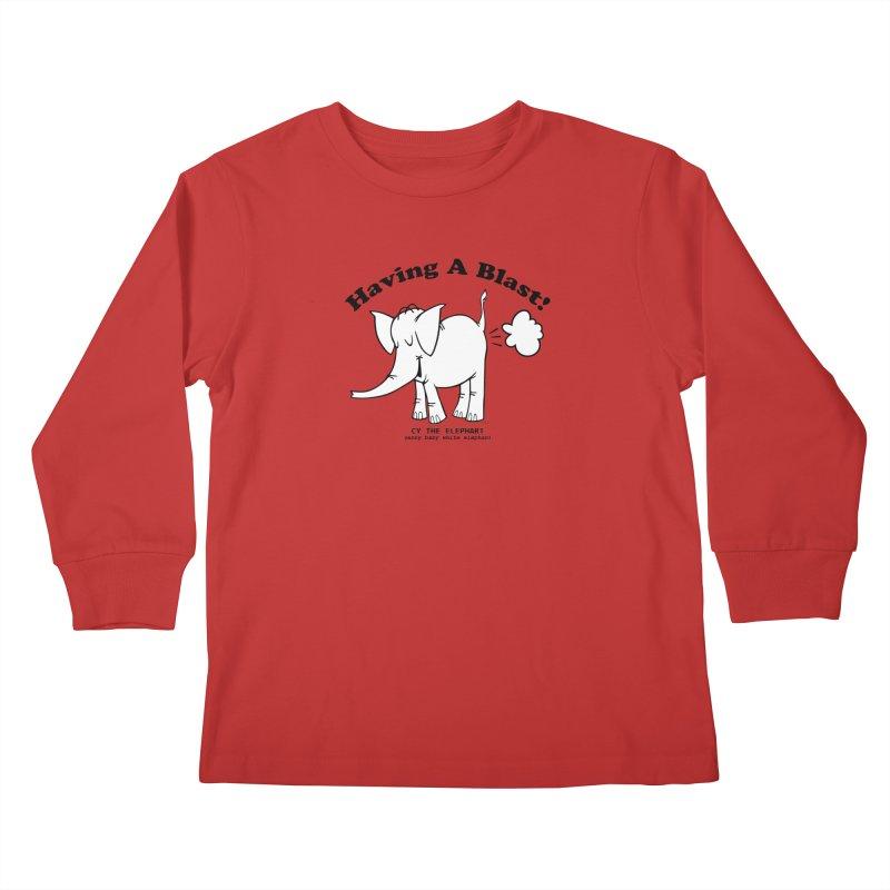 Having A Blast with Cy The Elephart Kids Longsleeve T-Shirt by Cy The Elephart's phArtist Shop
