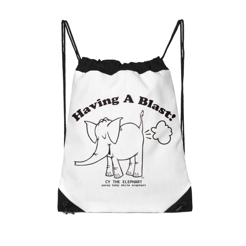 Having A Blast with Cy The Elephart Accessories Drawstring Bag Bag by Cy The Elephart's phArtist Shop