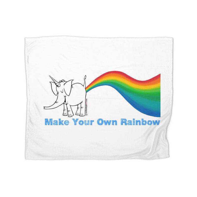 Make Your Own Rainbow - Cy The Elephart Home Fleece Blanket Blanket by Cy The Elephart's phArtist Shop