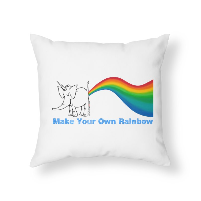 Make Your Own Rainbow - Cy The Elephart Home Throw Pillow by Cy The Elephart's phArtist Shop