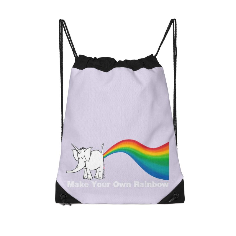 Make Your Own Rainbow ( White Lettering ) - Cy The Elephart Accessories Drawstring Bag Bag by Cy The Elephart's phArtist Shop