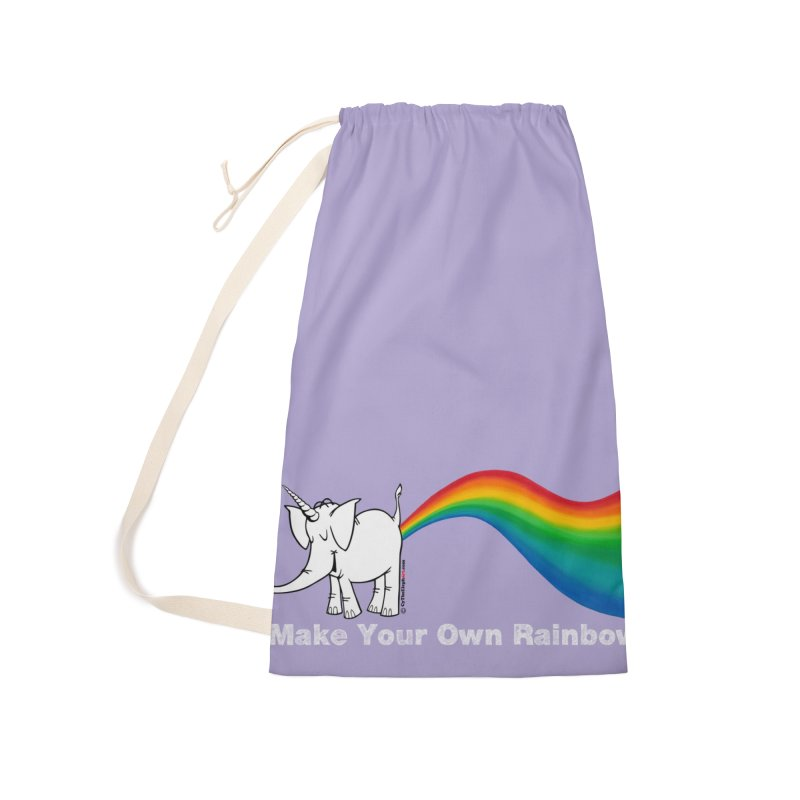 Make Your Own Rainbow ( White Lettering ) - Cy The Elephart Accessories Laundry Bag Bag by Cy The Elephart's phArtist Shop