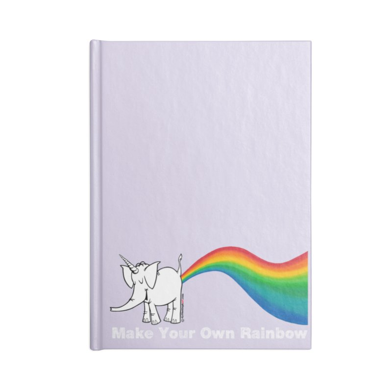 Make Your Own Rainbow ( White Lettering ) - Cy The Elephart Accessories Lined Journal Notebook by Cy The Elephart's phArtist Shop